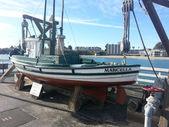 Le marcella est un bateau de pêche de style de monterrey qui est exposée au quai municipal de san cruz. — Photo