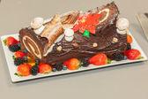 Chocolate layered roll — Stock Photo