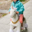 White Unicorn Riding — Stock Photo