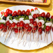 Mozzarella, Cherry Tomato and Basil Skewers — Stock Photo #27830387