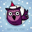 Owl on winter background — Stock Vector #34758483