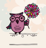 Owl on holiday background — Vector de stock