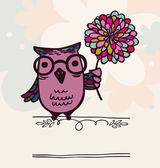 Owl on holiday background — Stok Vektör