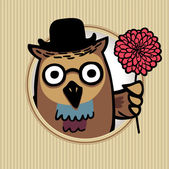 Intelligent owl in a hat — Stock Vector