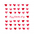 Stock Photo: Valentines card with red watercolor hearts