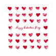 Valentines card with red watercolor hearts — Stock Photo #38958851