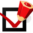 """Check box and red pencil write """"OK"""" — Stock Vector"""