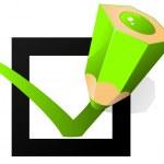 Check box and green pencil — Stock Vector