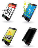Illustration of 3rd Generation (3G) PDA. icons for phone, calendar, music player, video player, out-of-work telephone — Stockvektor