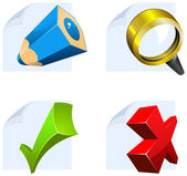 Editor icon set: edit, search, confirm, cancel — Stock Vector