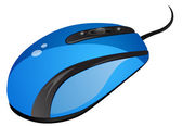 Blauwe computermuis — Stockvector