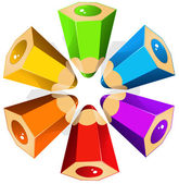 Asterisk from colour pencils — Stock Vector