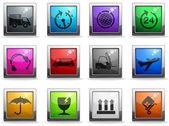 Cargo shipping glass icons — Stock Vector