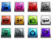 Alla hjärtans och kärlek ikoner — Stockvektor