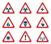 Triangular Hazard Sign Icons — Stock Vector