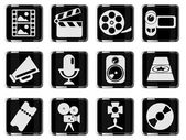 Media vector glossy icon set — Stock Vector