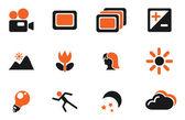 Modos de foto-íconos silueta — Vector de stock