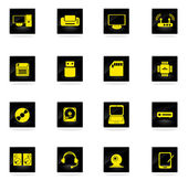 Computer equipment simple vector icons — Vector de stock