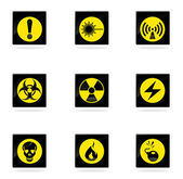Hazard Sign Icons — Stock Vector