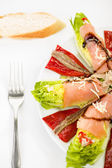 Food salmon anchovy salad — Stock Photo