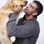 adam ve köpeği — Stok fotoğraf