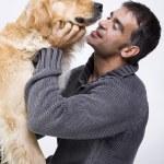 muž a pes — Stock fotografie
