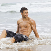 Sexy man beach — Stock Photo