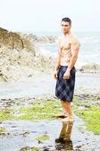 Sexy man beach — Stock Photo