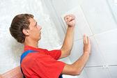 Tiler at home renovation work — Stock Photo