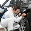 Stock Photo: Auto mechanic painting car element