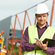 Builder site manager worker at construction site — Stock Photo