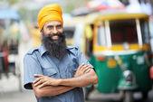 Indian auto rickshaw tut-tuk driver man — Stock Photo