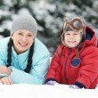 Mother with child boy son at winter — Stock Photo