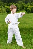 Little boy make karate exercises — Stock Photo