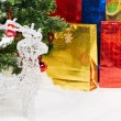 Gifts background at Christmas or new year — Stock Photo