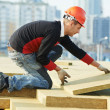 Stock Photo: Roofer worker installing roof insulation material