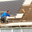 Roofing work with flex roof - Stock Photo