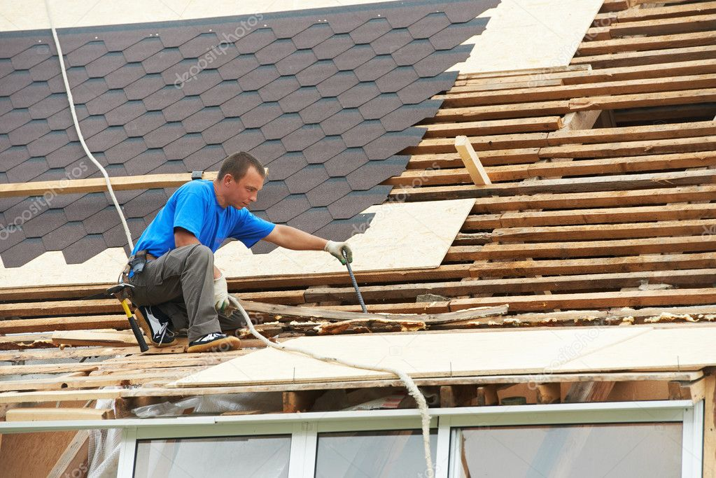 Roofing work with flex roof stock photo kalinovsky for Flexible roofing material