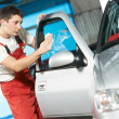 Stock Photo: Auto service cleaner washing car
