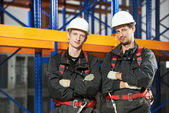Warehouse installation staff workers — Stock Photo