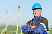 Portrait of electrician power lineman — Stock Photo