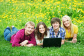 Smiling young student group of — Stock Photo