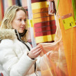 Woman shopping at home decoration supermarket — Stok fotoğraf