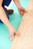 Cork flooring work — Stock Photo