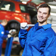 Постер, плакат: Repairman auto mechanic at work
