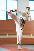 Man at taekwondo exercises — Stock Photo