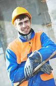 Facade builder plasterer — Stock Photo