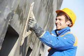 Facade builder plasterer at work — Foto de Stock