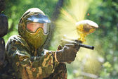 Paintball player direct hit — Stock Photo