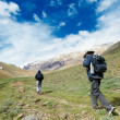 Two tourist hiking in india mountains — Stock Photo